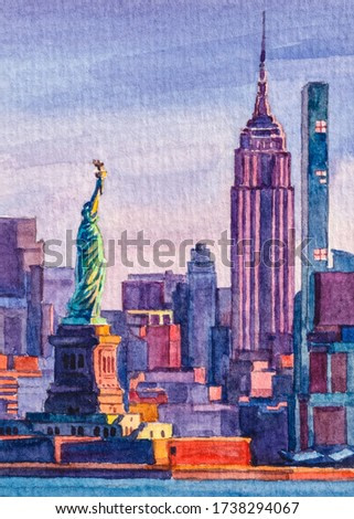 New York city. Statue of Liberty. View on downtown building NYC. Beautiful sunset light. Watercolor painting. Watercolor paper texture.
