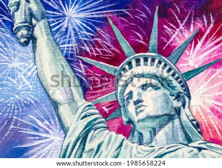 Statue of Liberty and Fireworks. 4th of July Independence Day. United States of America. New York city. Colorful Watercolor painting. Acrylic drawing art.