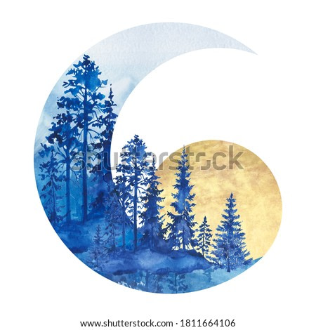 Watercolor composition in the form of a month with the image of a forest. forest composition, nature, evening forest, woodland, watercolor landscape