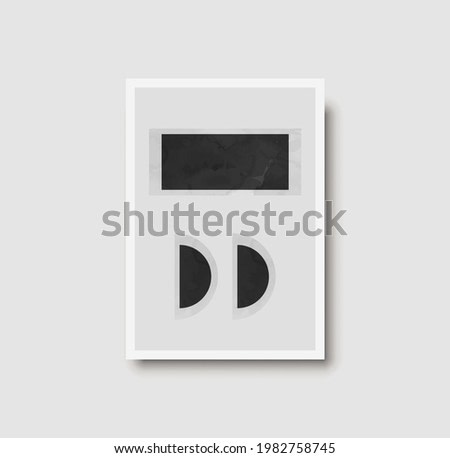 Creative minimal 50s wall art print.  Dark monochrome shape composition for wall decoration and poster. Watercolor painting with geometric shapes