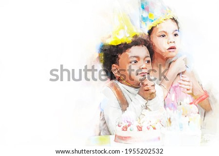 Digital painting and drawing of Group of  happy and enjoy kids have fun celebrating her birthday with Multinational friend kids birthday celebratiion party.