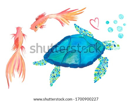 Sea animals turtle and fishes watercolor