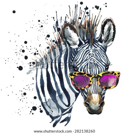 Funny zebra. watercolor illustration. african nature. tropical animal. wildlife.