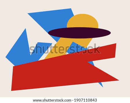 Abstract colorful shape collage. Mid-century art Trendy and minimalist modern art. For art product, print and poster. Creative Painting with blue, red and yellow Bauhaus inspiring.