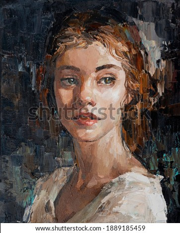 Portrait of a young, dreamy girl with curly brown hair on a mysterious abstract background. Palette knife technique of oil painting and brush.