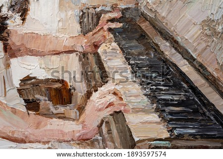Fragment of artwork where young beautiful girl hplays the piano. Created in the expressive manner. Palette knife technique of oil painting and brush.