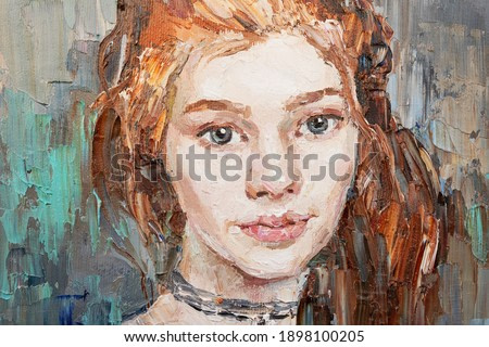 Art painting. Portrait of a girl with red hair is made in a classic style. Background is blue.
