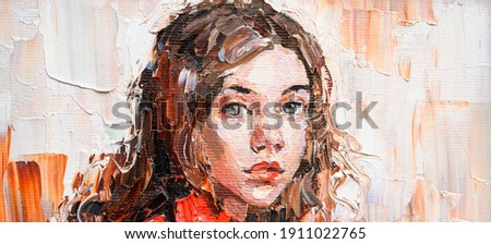 Fragment of an oil painting.  Portrait of a woman. The art is done in a realistic manner.