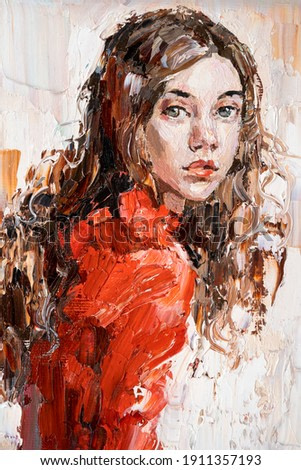 Portrait of a young beautiful girl in a red dress. Oil painting on canvas.