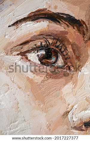 Brown-eyed girl on a white background. Portrait of brown haird women. Oil painting on canvas.