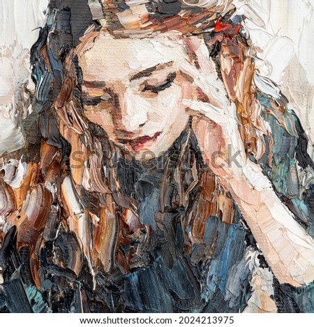 Portrait of a girl in a cafe. Fragment of an oil painting. Cozy art on canvas.