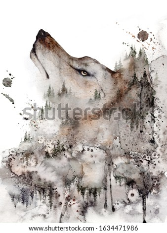 Grey Wolf Art Print. Forest Home decor wall art isolated in a white. Watercolor poster of Wolf Head and Misty Woodland, Dark Fantasy, Halloween Painting