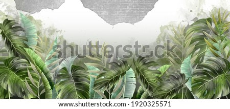 photo wallpaper tropical leaves in the room