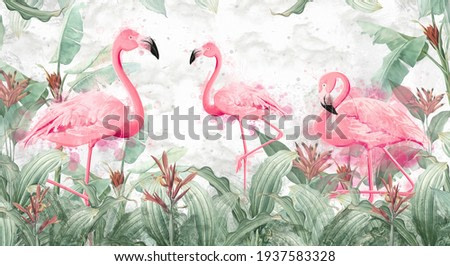 flamingos in tropical plants on a textured background in light colors in a watercolor style