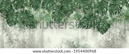 tropical leaves with a textured background in light green tones for a room in your interior
