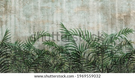photo wallpaper in the interior of the room fern leaves with contour elements