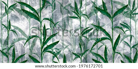 tropical leaves in the form of vines on a textured background, in green-gray tones, photo wallpaper