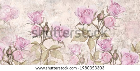 drawn vintage roses on texture background, photo wallpaper