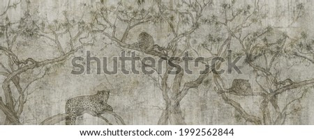 leopards on trees with a textured background, elements of shabby, photo wallpaper, vintage style to the room