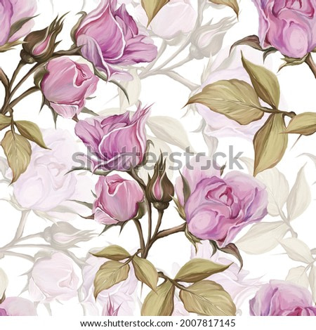 painted pattern roses were collected from four sides for printing on textiles or other something, art drawing, painted roses