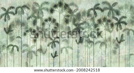 tall tropical trees in the interior of any room, wall mural painted art
