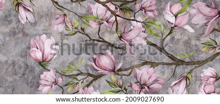magnolia branch on a textured background, pastel colors and black accents, photo wallpaper in a room or home interior