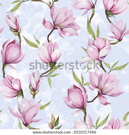Seamless pattern with light pink magnolia on a gentle blue background. drawn detailed realistic flowers, branches, leaves, petals in a stylish ornament for your design, postcards, textiles, phone case