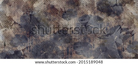 graphic art poppies, 3D graphic drawing, photo wallpaper for a room or home interior, postcards, covers