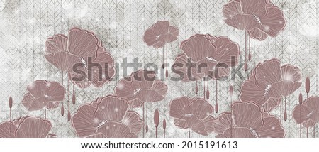 graphic art poppies, drawing with poppies, photo wallpaper in the room, drawing in the interior of the house, flowers on a textured background with lazy elements, so the drawing can be used on covers,
