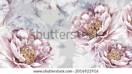 drawn art peonies on a textured wall with imitation of scuffs. Photo wallpaper in a room or interior of a house. For printing on a label poster of a postcard