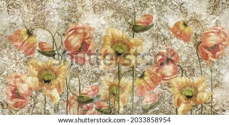 Poppies with monograms on a textured background, art drawn poppies, wall murals in room or home interior