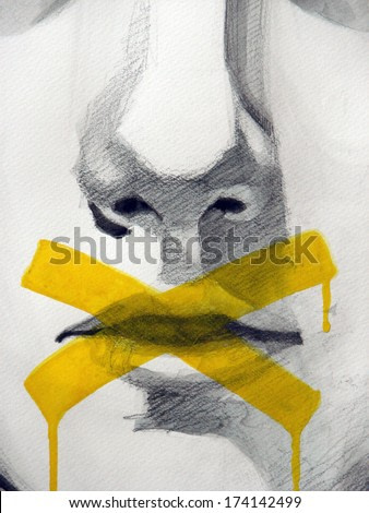 watercolor illustration of young mans mouth | handmade | self made | painting
