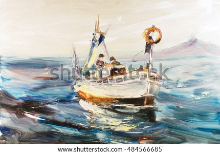Fishing schooner seascape, fishermen at cold sea, cold waves, Pacific ocean. Oil on canvas, modern art, watercolor painting, modern contemporary art