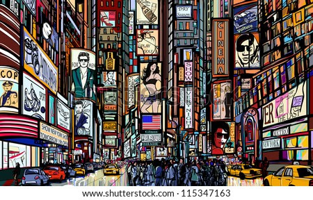 Illustration of a street in New York city - times square - vector illustration