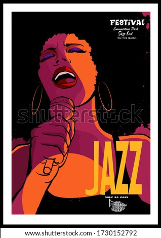 Beautiful afro-american woman singer with the microphone - vector illustration (Ideal for printing on fabric or paper, poster or wallpaper, house decoration)