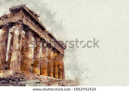 Watercolor illustration of a gorgeous landscape on old paper. Parthenon, ruins of an ancient monument in the Acropolis. Athens, Greece.