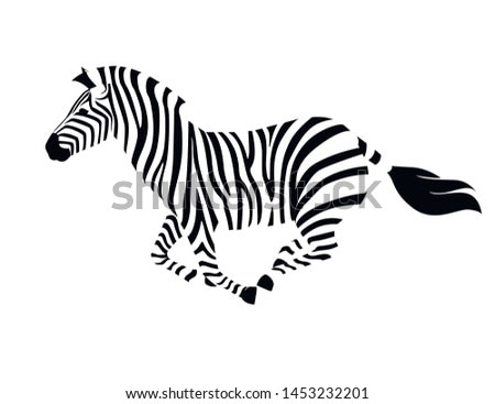 African zebra running side view outline striped silhouette animal design flat vector illustration isolated on white background