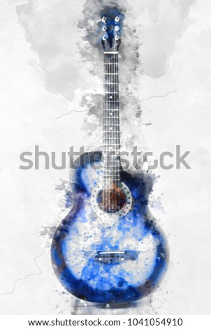 Abstract beautiul Guitar in the foreground, Watercolor painting background and Digital illustration brush to art.