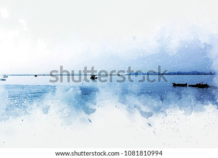 Abstract Long boat fishing on watercolor paining background and colorful splash brush to art.