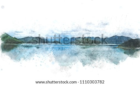 Abstract Mountain hill and river lake watercolor painting background.
