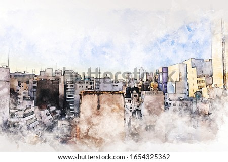 Abstract offices Building in Tokyo city on watercolor painting background. City on Digital illustration brush to art.