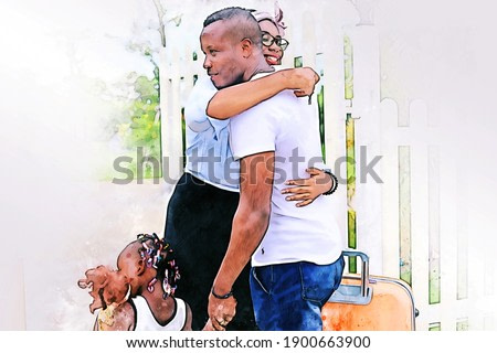 Abstract happiness America Africa family with children in home on watercolor illustration painting background.