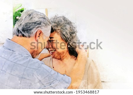 Happiness senior couple lover smile portrait and lifestyle at home on watercolor illustration painting background.