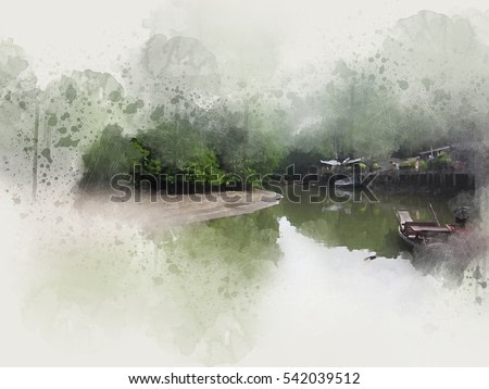Abstract forest and river on watercolor paint background.