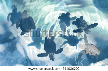 Digital illustration: Sea turtles in blue, small turtles in water, baby turtle, baby animal just born and swim in ocean, turtle swimming in blue water, olive ridley sea turtle, sea life in the sea