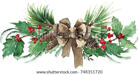 Watercolor Scandinavian Christmas Composition. Hand drawn winter decoration. Spruce, holly and pinecones bouquet, decorated with a canvas bow.