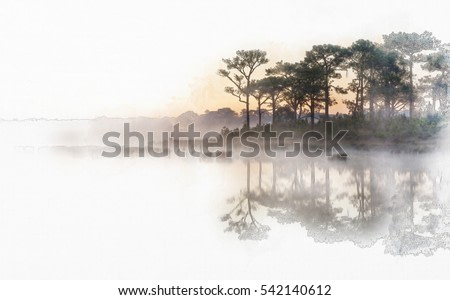 Sunrise  reflected in calm lake waters in watercolor painting