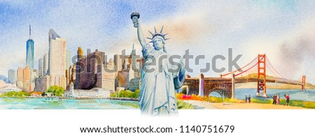 Statue Liberty, Manhattan urban, Golden gate bridge in USA. Famous landmarks of the world. Watercolor painting cityscape, architecture and business city. Hand painted illustration, tourism location