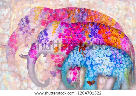 Beautiful nature with Asia elephants and forest preservation, Abstract watercolor original painting brunch of pink orchid flowers and butterflies fly in nature illustration abstract background,