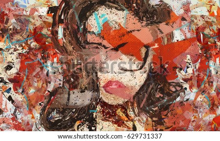Digital art. Modern. Poster. Face of girl in glasses. Digital painting. Contemporary art. Expressionism. Grunge. Beautiful woman portrait. Abstract fashion illustration. Picture for interior, in room.
